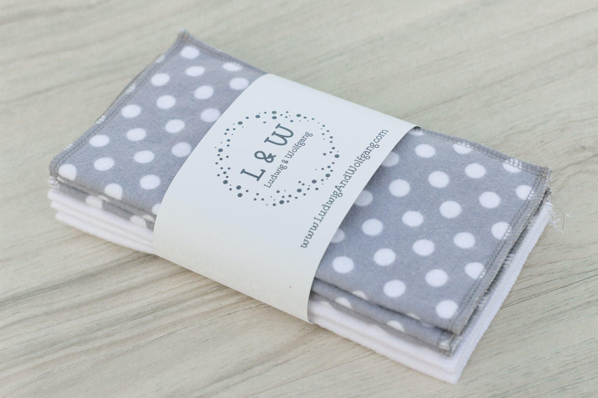 Bundle of Wipes (3 ea. White, Gray Polka Dot, 2-Ply Flannel)
